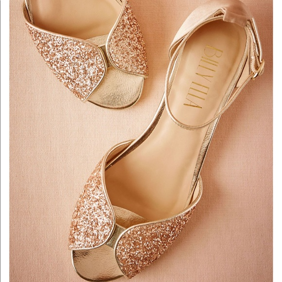 "889c60d0d95 Anthropologie Shoes - BHLDN Rose Gold Champagne Open Toed .6"" Small Heel"
